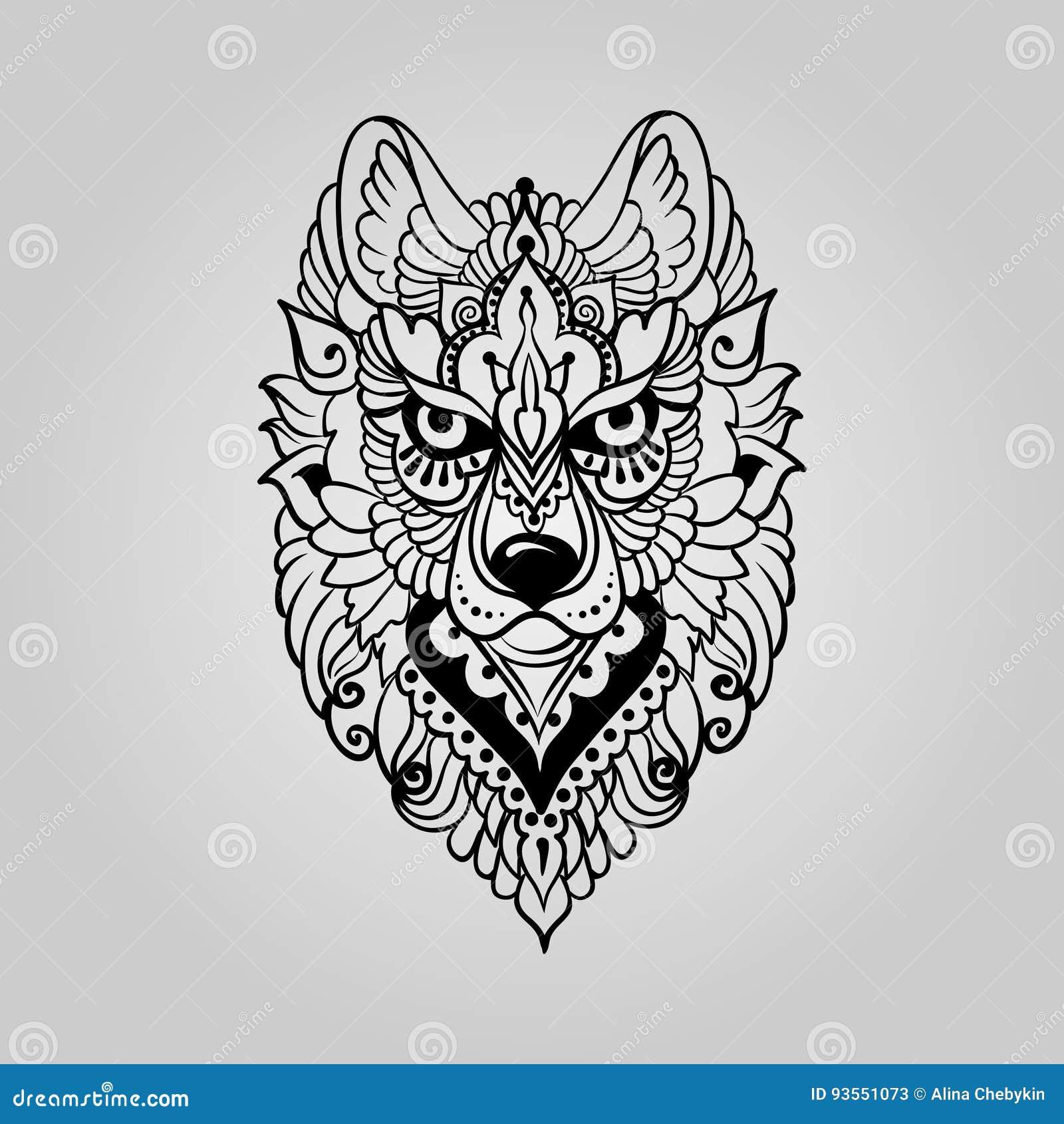 Tribal Ethnic Wolf Stock Vector Illustration Of Ornament