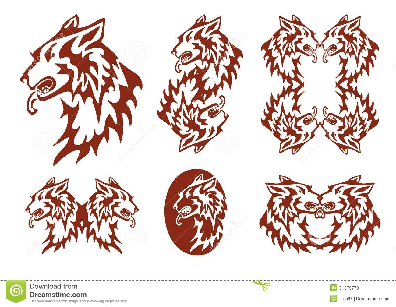 tribal flaming dog symbols stock vector illustration of canine