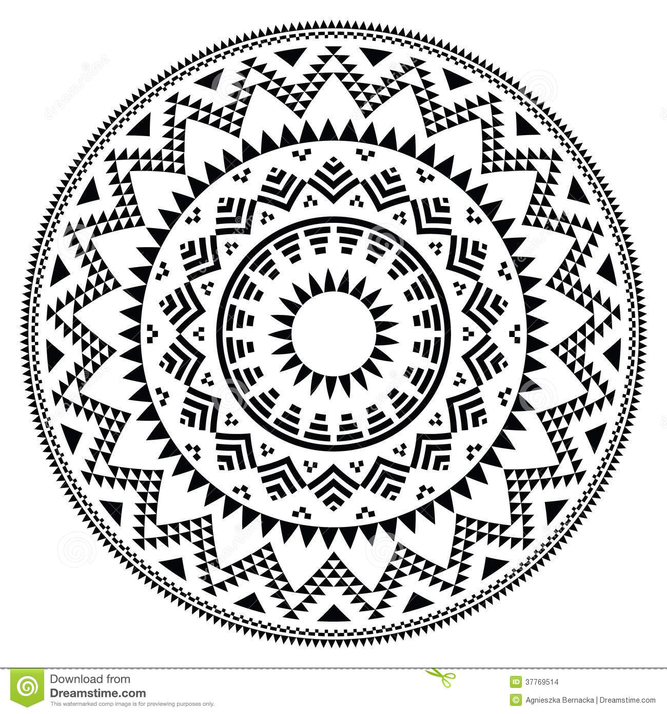 Tribal Folk Aztec Geometric Pattern In Circle Stock Images - Image ...