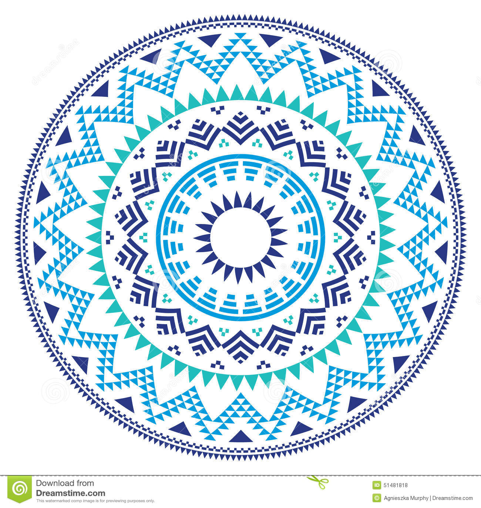 Scandanavian Designs Tribal Folk Aztec Geometric Pattern In Circle Blue Navy