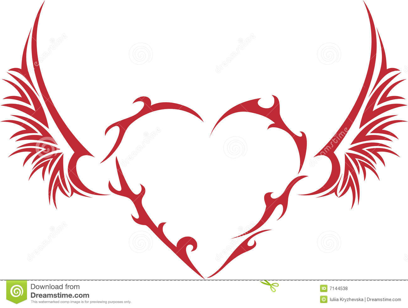 Tribal Heart With Wings Royalty Free Stock Photos Image 7144538
