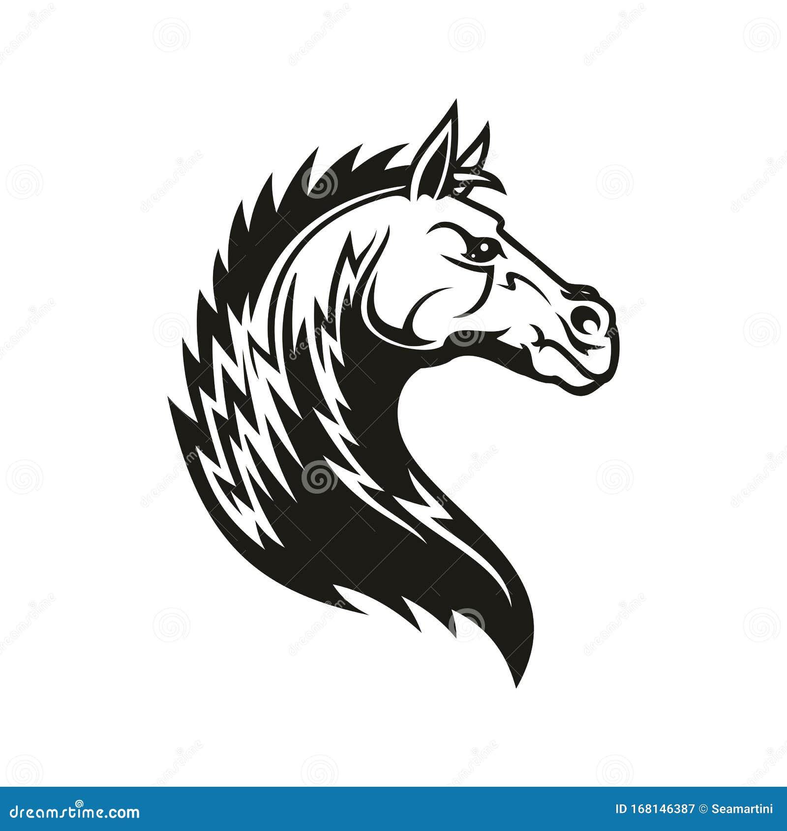Tribal Horse Head Mascot Or Tattoo Stock Vector Illustration Of Emblem Power 168146387