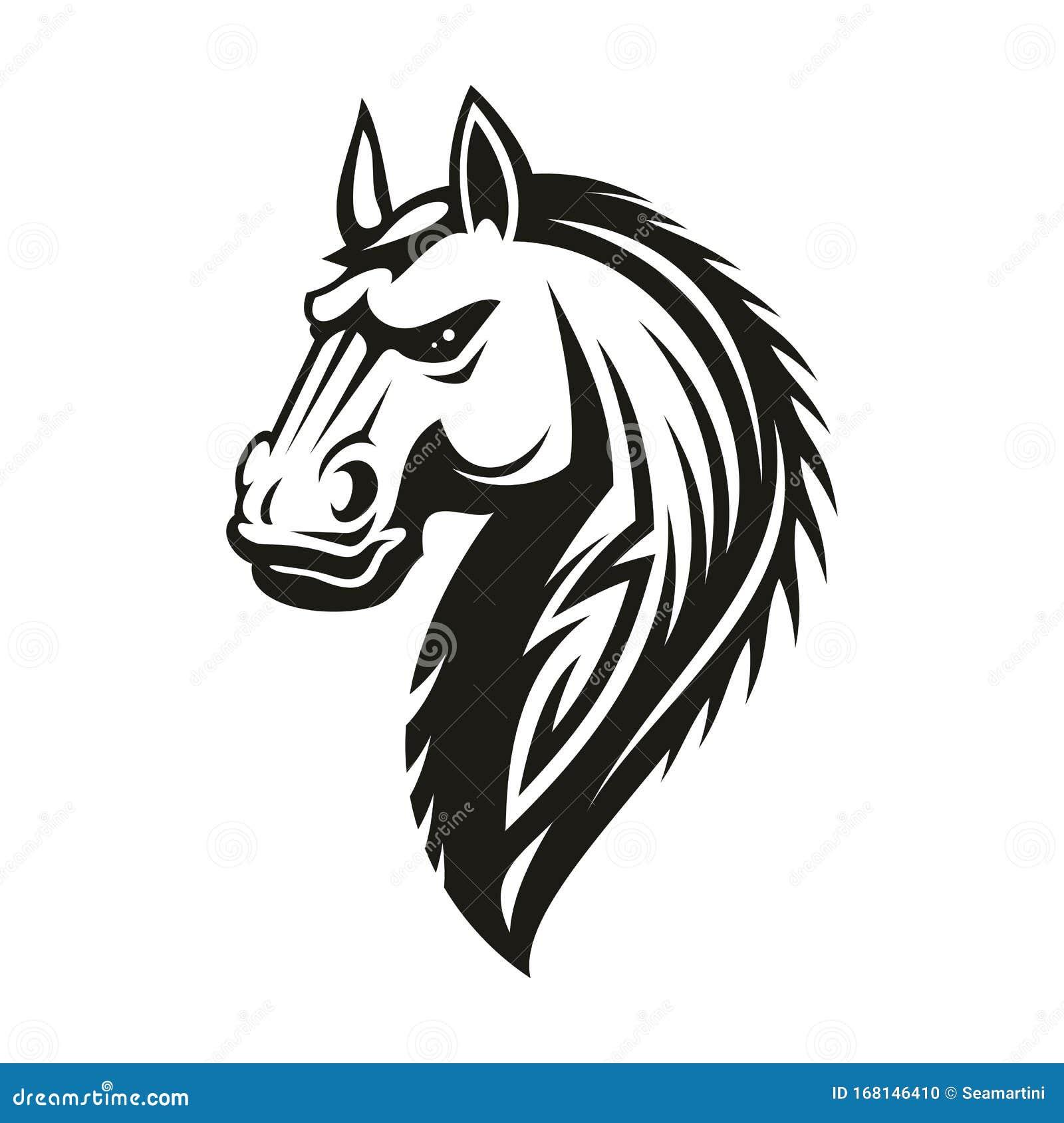 Tribal Horse Head Mascot Or Tattoo Stock Vector Illustration Of Black Freedom 168146410