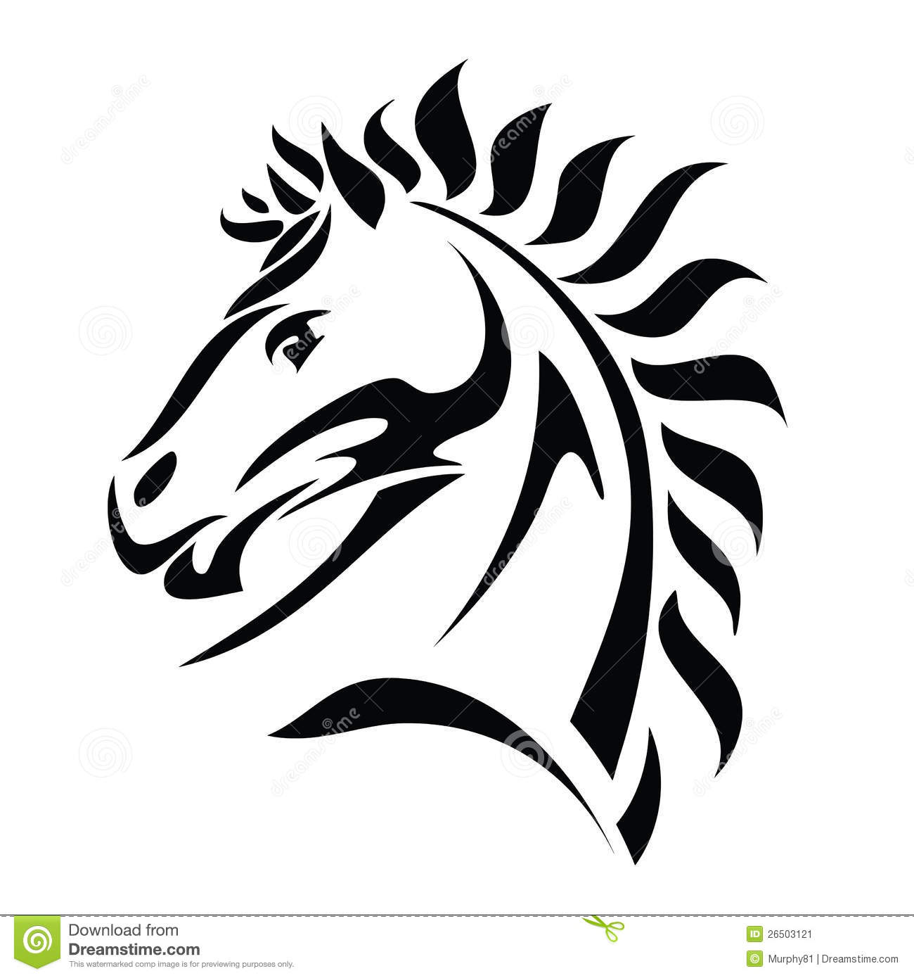 Tribal Horse Head Tattoo Stock Illustrations 476 Tribal Horse Head