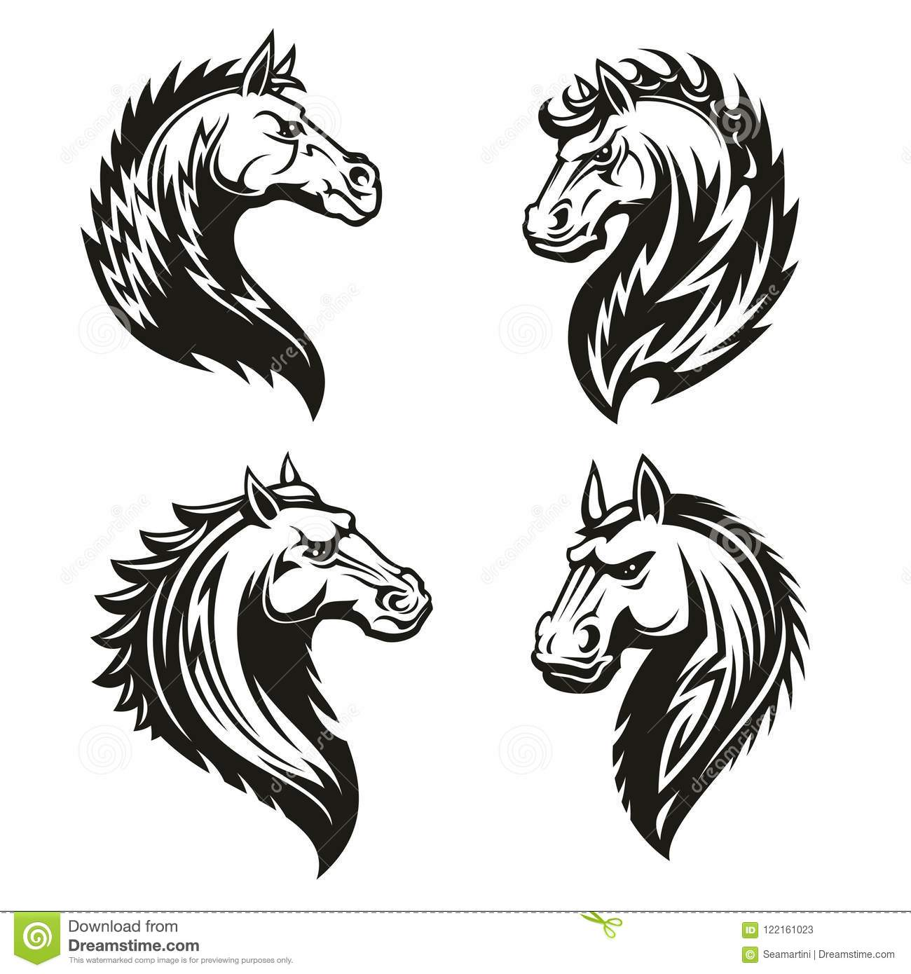 Tribal Horse Heads Mascot Or Tattoo Stock Vector Illustration Of Sport Equestrian 122161023