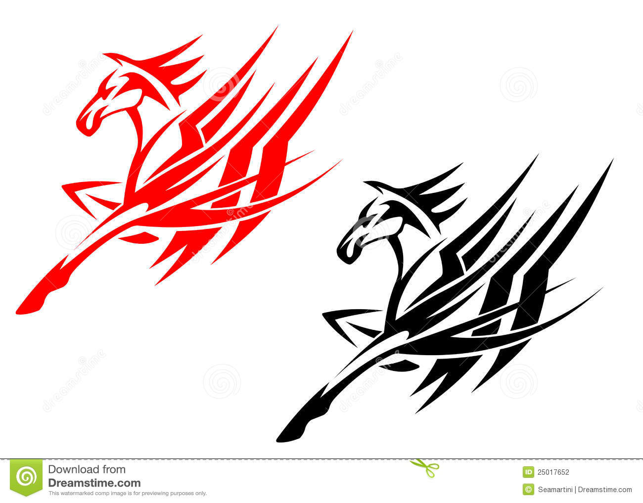 Tribal Horse Tattoo Stock Vector Illustration Of Freedom 25017652