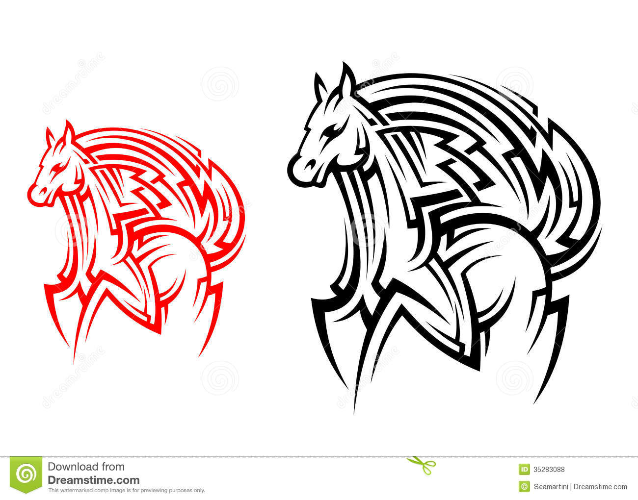 tribal horse tattoo stock vector image of insignia outline 35283088. Black Bedroom Furniture Sets. Home Design Ideas
