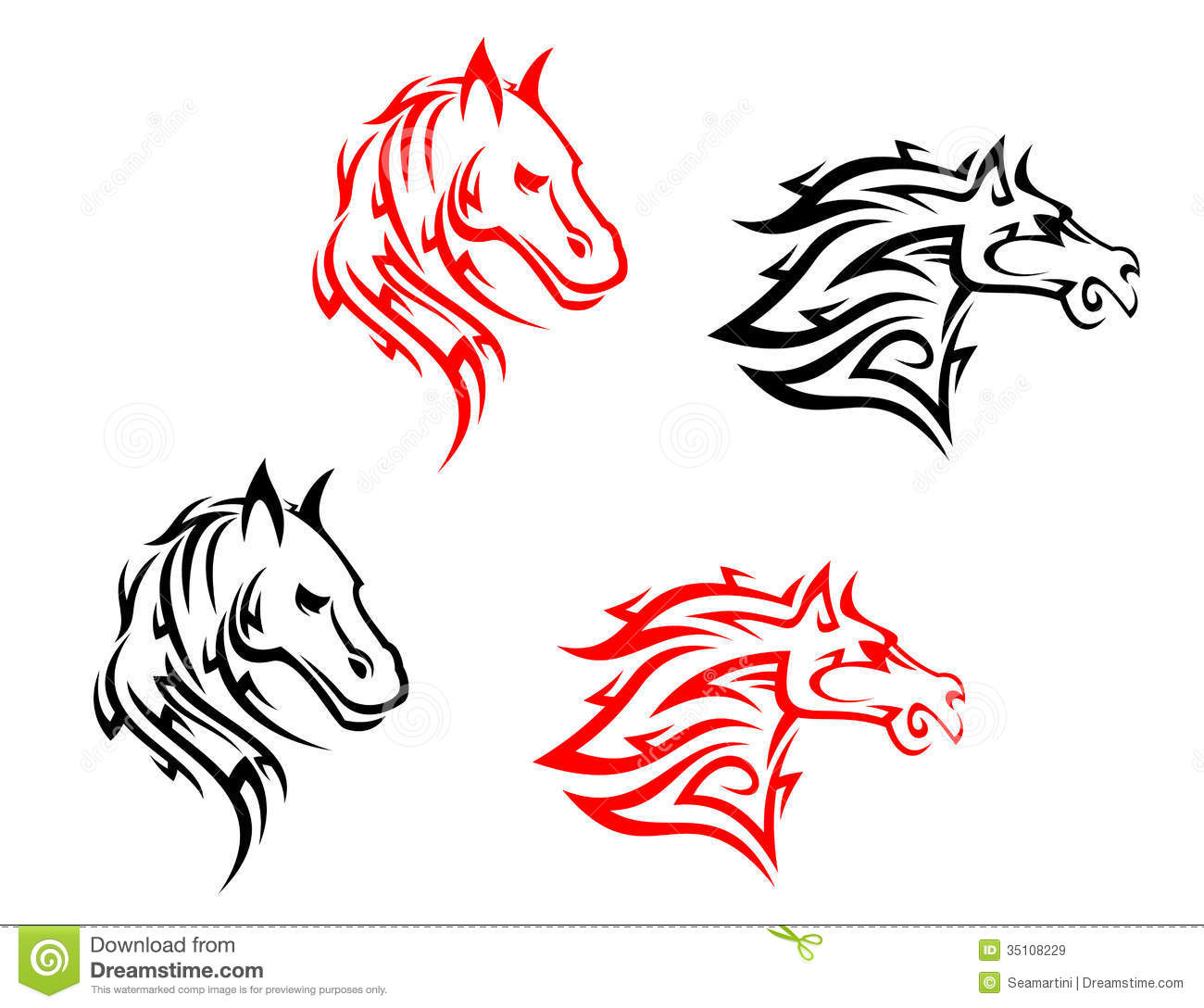 Tattoo Designs White Background: Tribal Horses Stock Vector. Image Of Elegance, Insignia