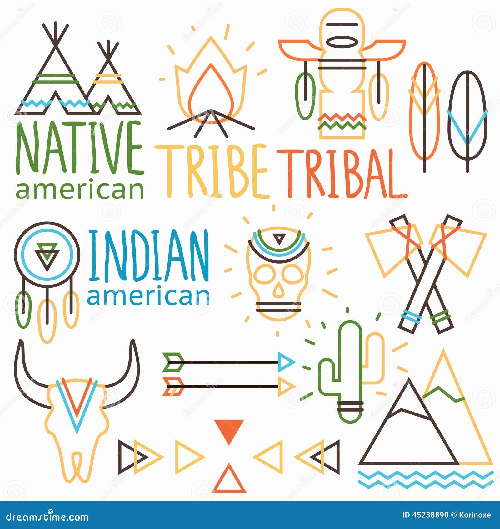 Vector outline tribal labels set, native indian american symbols ... Peacock Pattern Outline