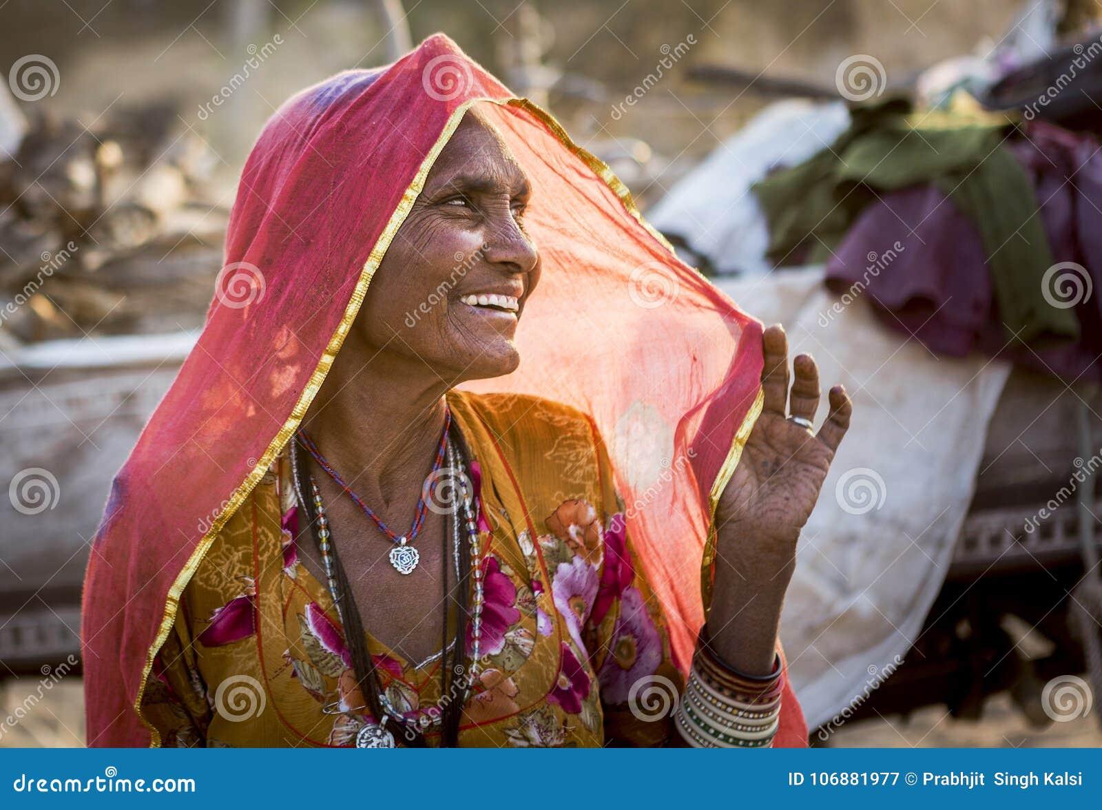 A tribal lady in pushkar camel fair