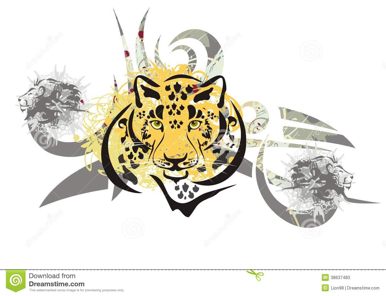 f5906f50a Tribal leopard head symbol with lions heads ready for a tattoo, graphics on  the vehicle, also for labels, stickers and emblems, T-shirt designs