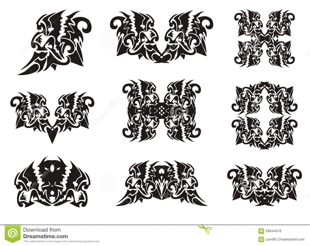 Tribal lion head elements in dragon form stock vector tribal lion head elements in dragon form buycottarizona Gallery