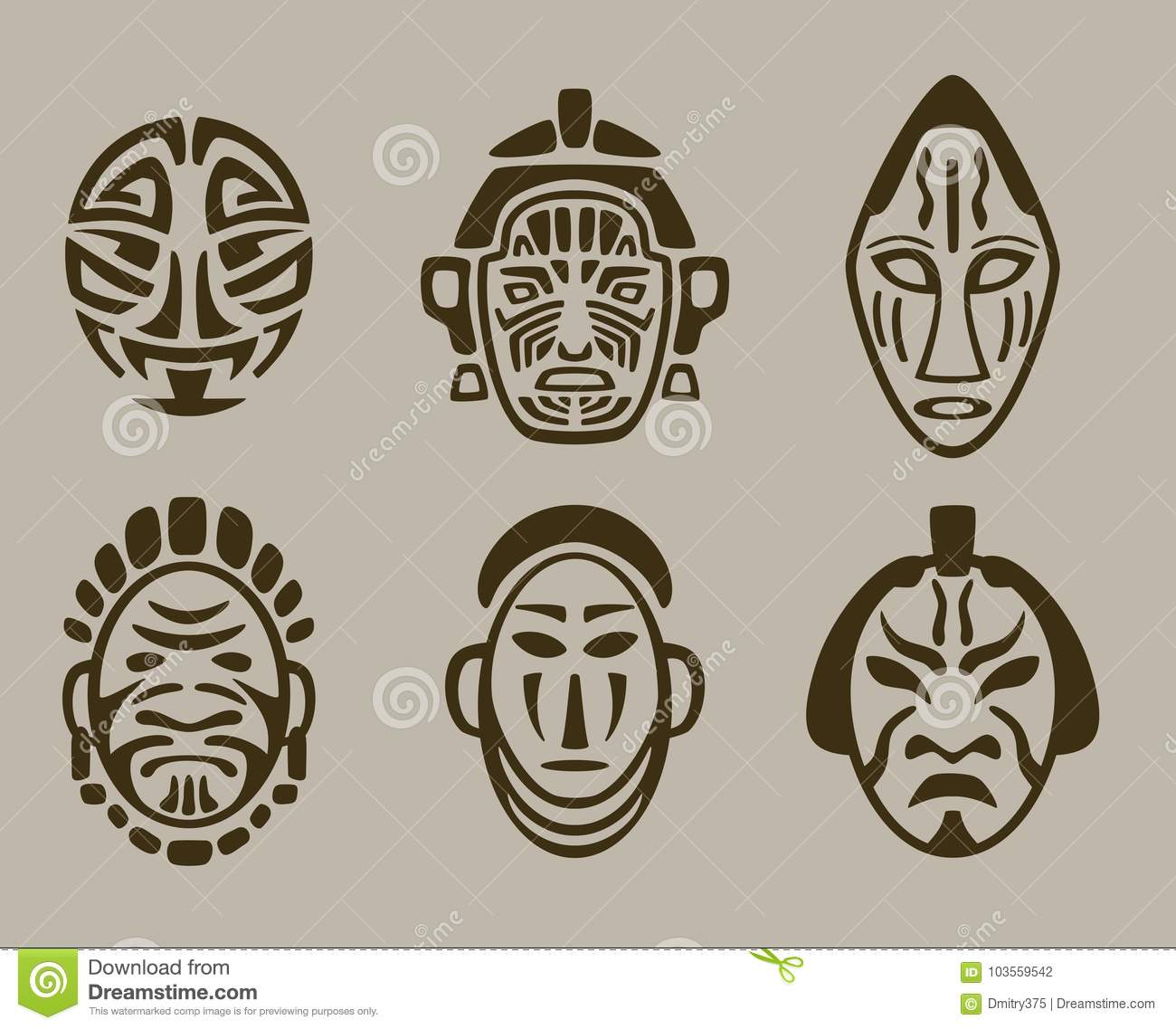 tribal mask set of africa asia and america stock vector