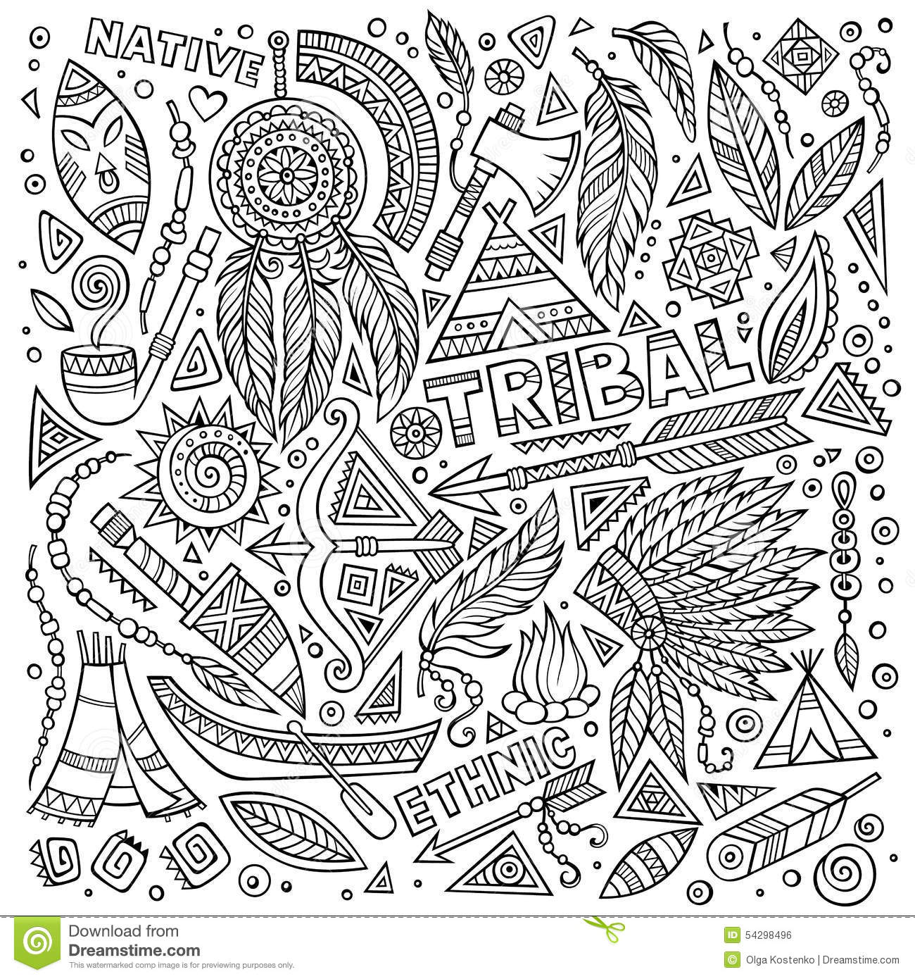 Tribal Native Set Of Symbols Stock Vector Illustration Of Native