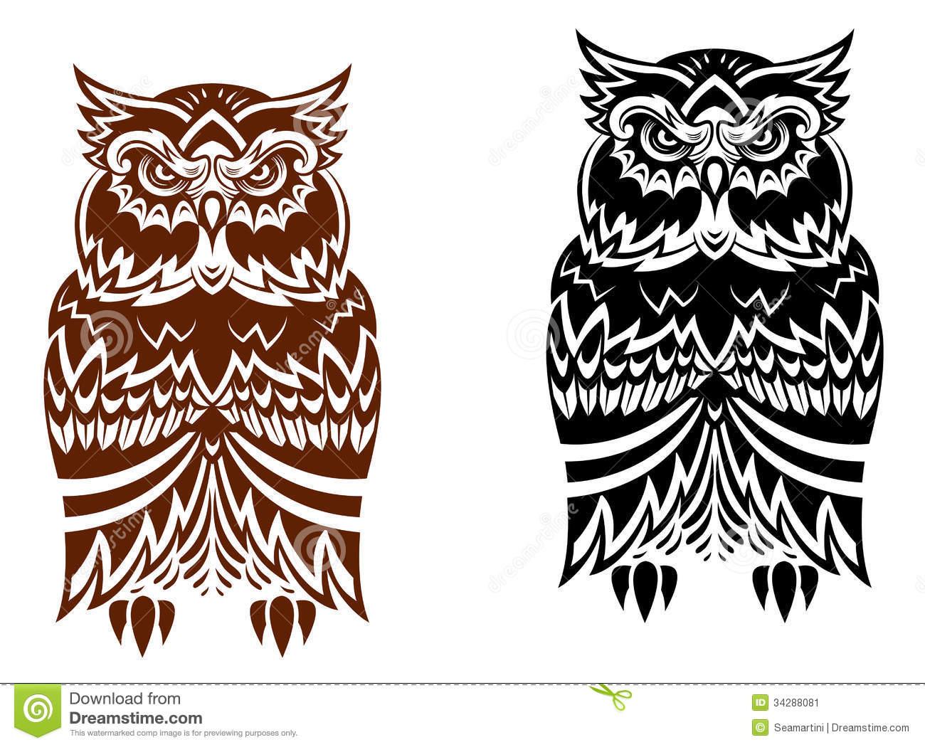 Tribal owl with decorative ornament isolated on white background.