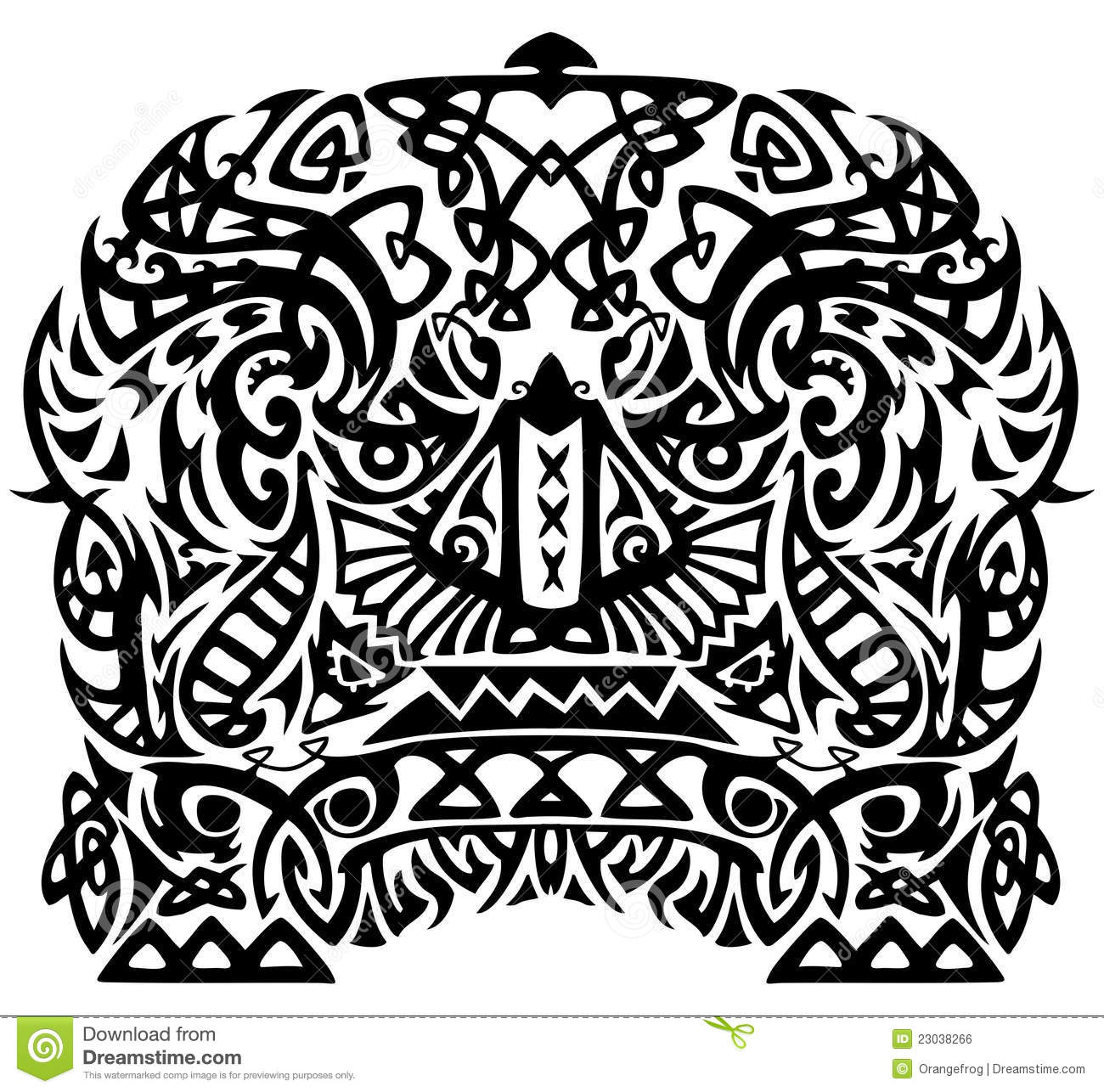 African Tribal Art Seamless Pattern Black And White Stock Vector