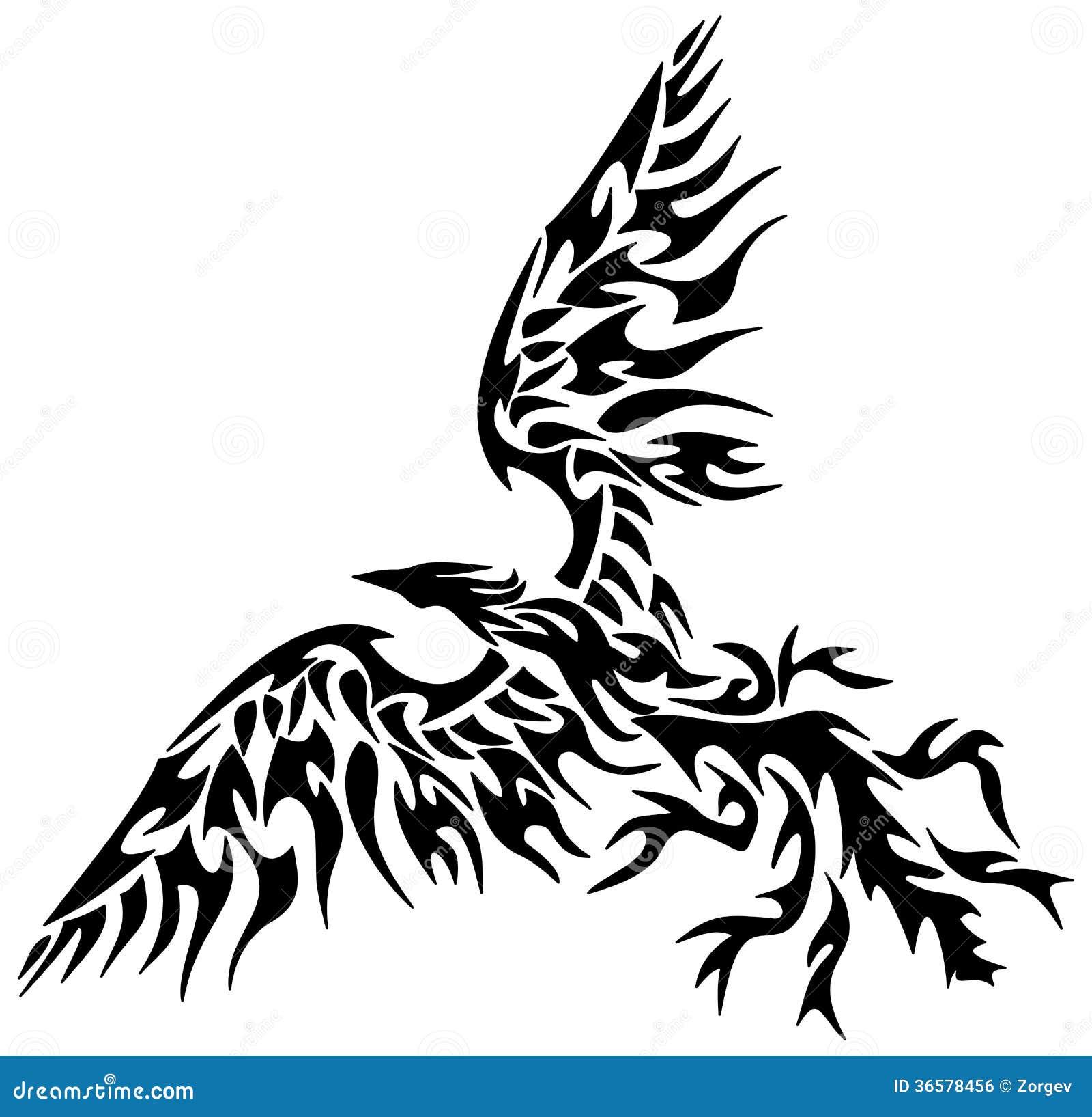tribal phoenix de tatouage illustration stock. Black Bedroom Furniture Sets. Home Design Ideas