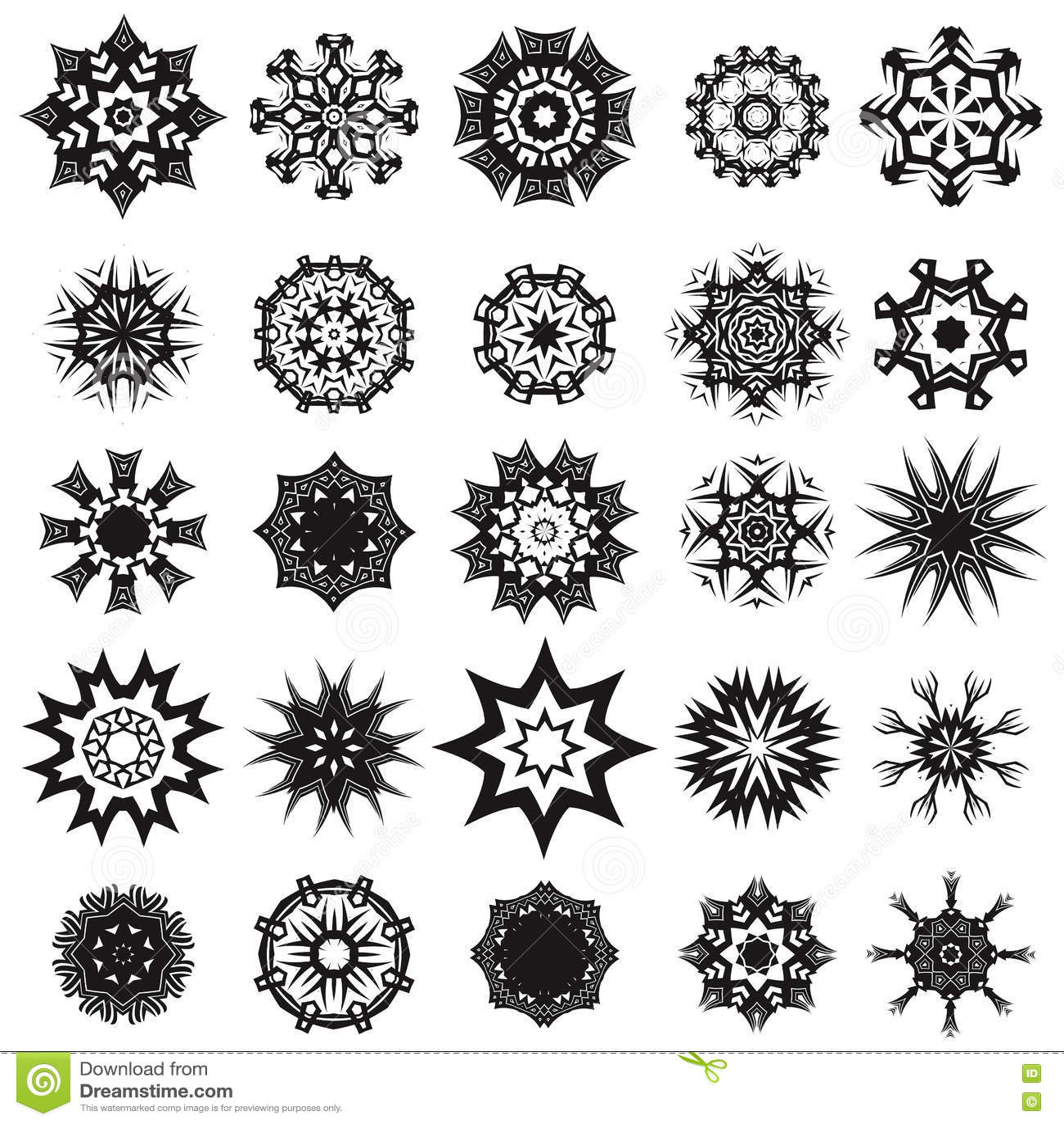 a59c347e2 Set of Different Tribal Rosette Tattoo Design on White Background.  Polynesian Design