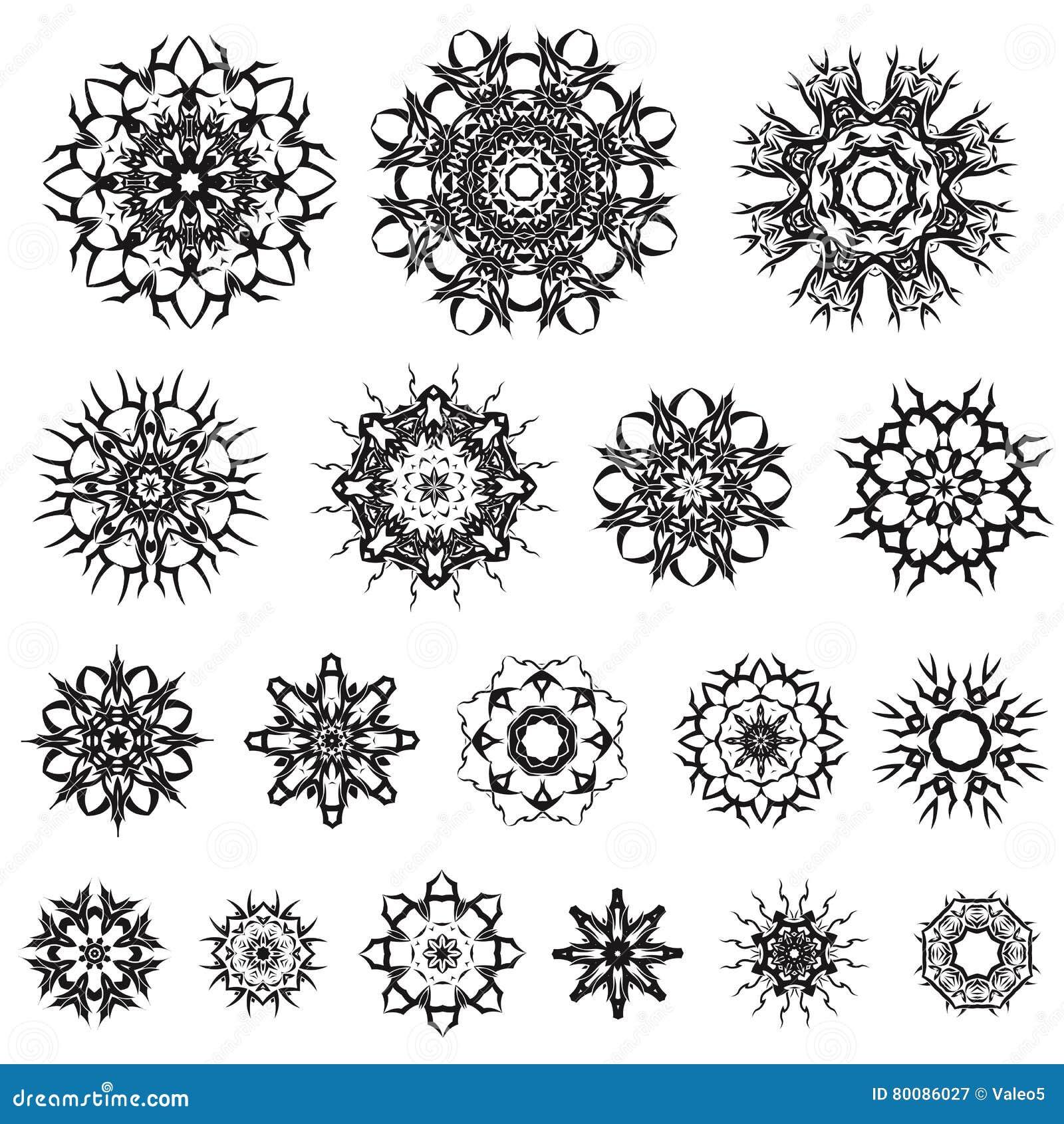 beefd3078 Set of Different Tribal Rosette Tattoo Design on White Background.  Polynesian Design. More similar stock illustrations