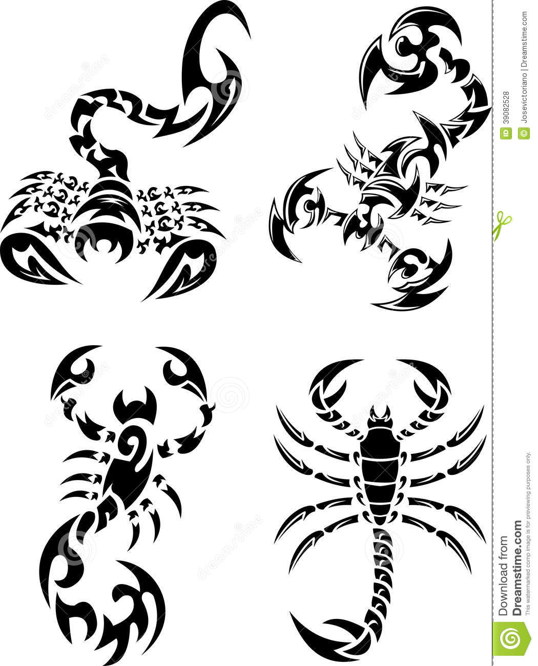 Tribal Scorpions Tattoo Set Stock Vector Image 39082528