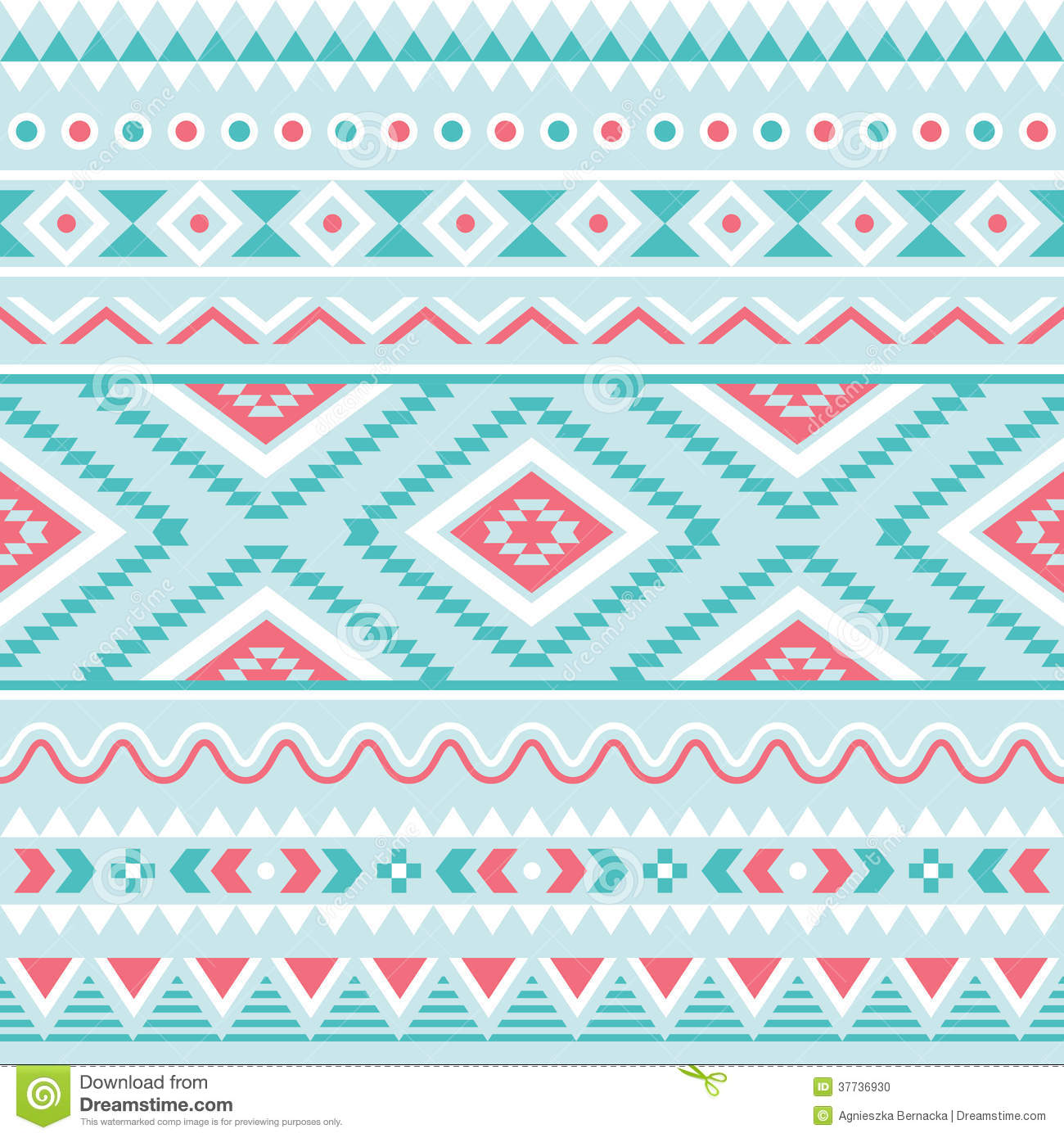 Blue Tribal Wallpapers: Tribal Seamless Pattern, Aztec Blue And Pink Background