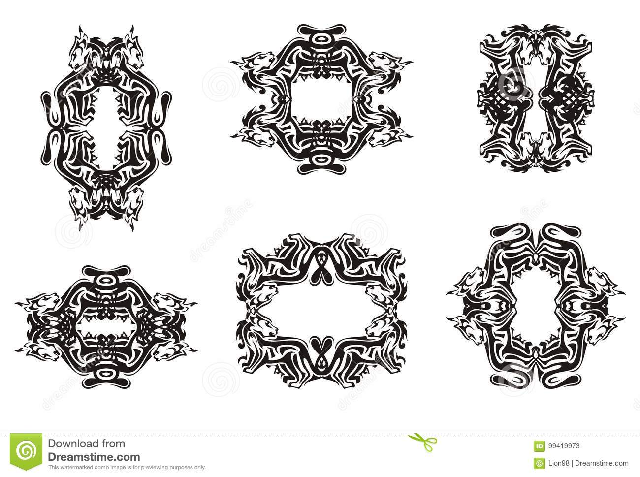 Decorative cat frames stock vector. Illustration of curl - 99419973