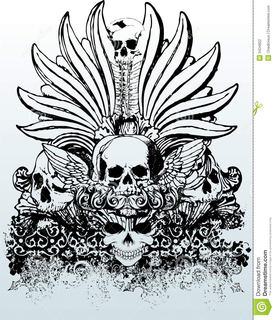 Tribal Skulls Illustration Stock Vector Illustration Of