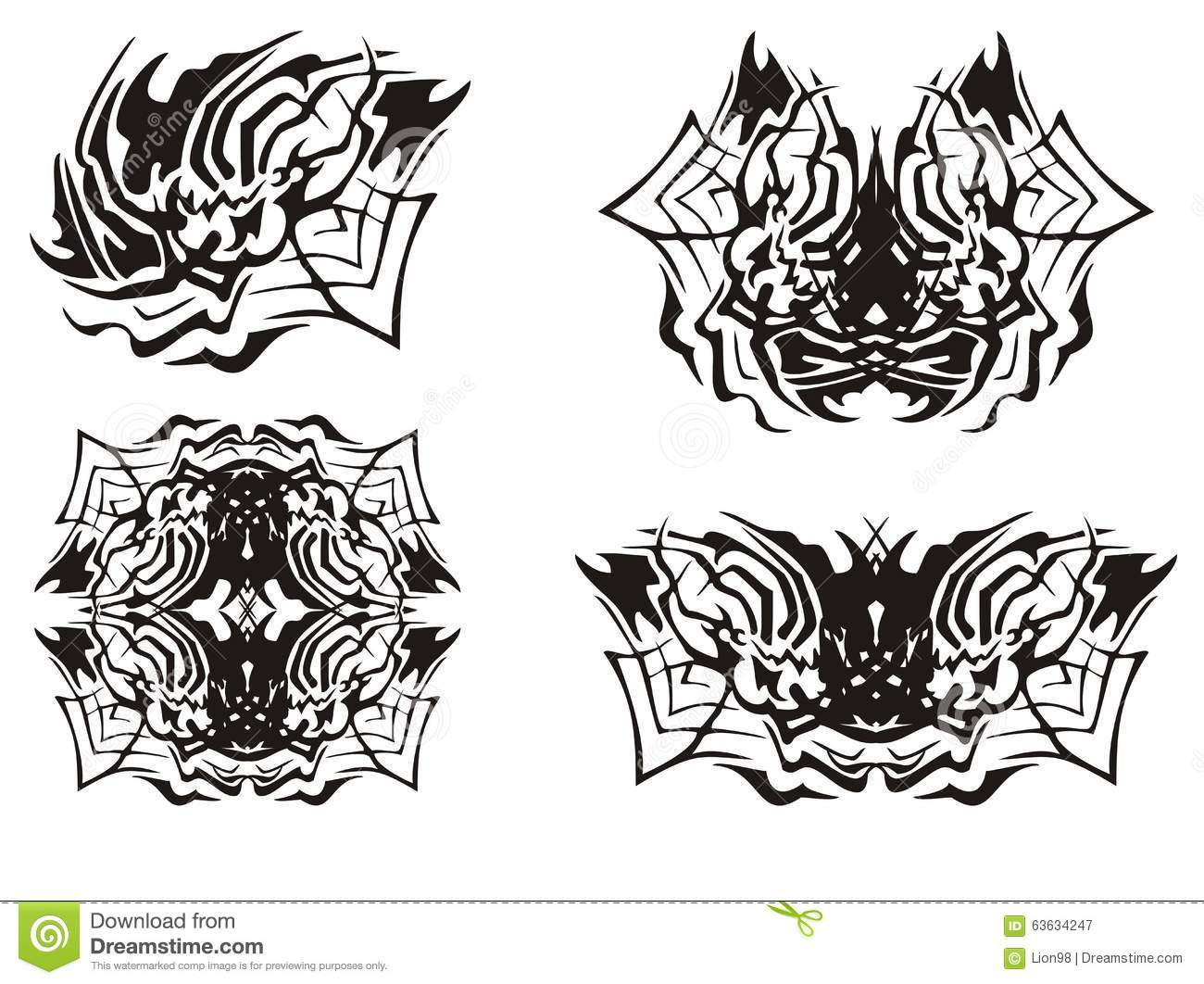 Tribal Spider Symbols Stock Vector Illustration Of Creepy 63634247