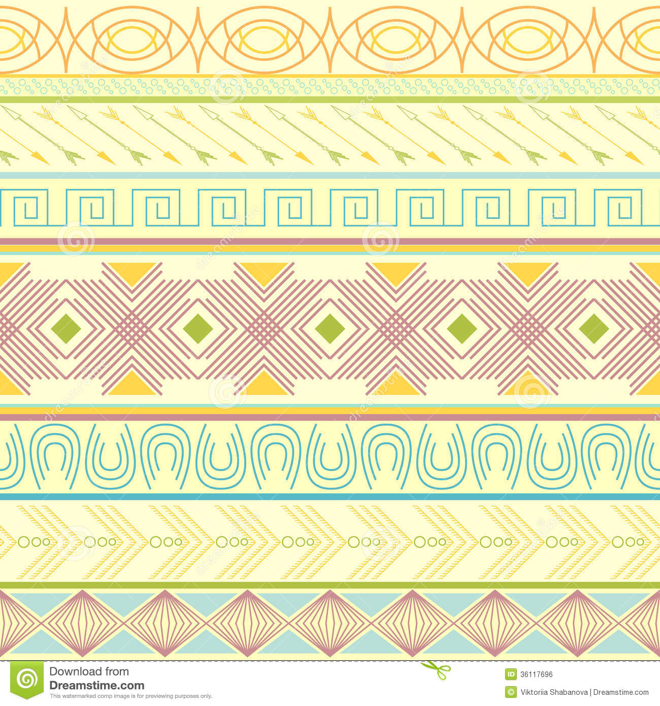 Tribal Striped Seamless Pattern Stock Vector
