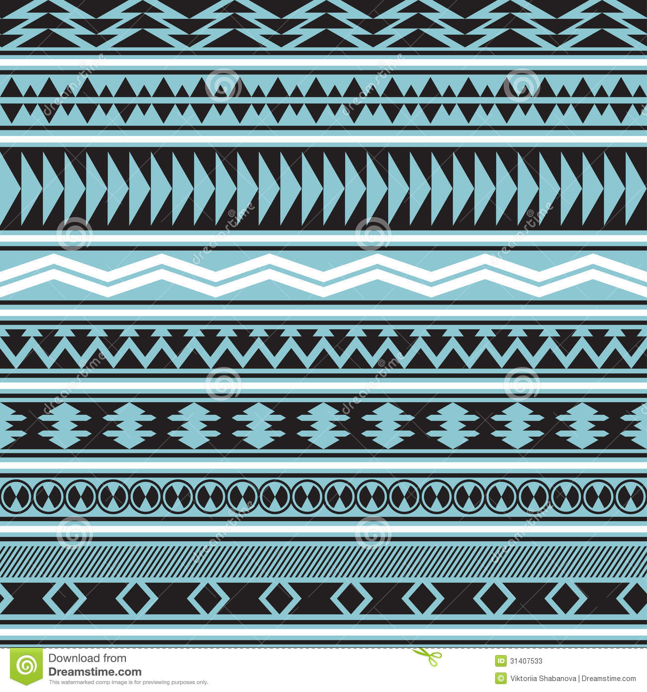 Blue Tribal Wallpapers: Tribal Striped Seamless Pattern. Stock Vector