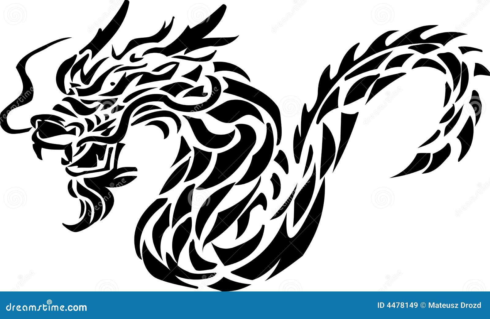Tribal Tattoo Of Dragon Cartoon Vector