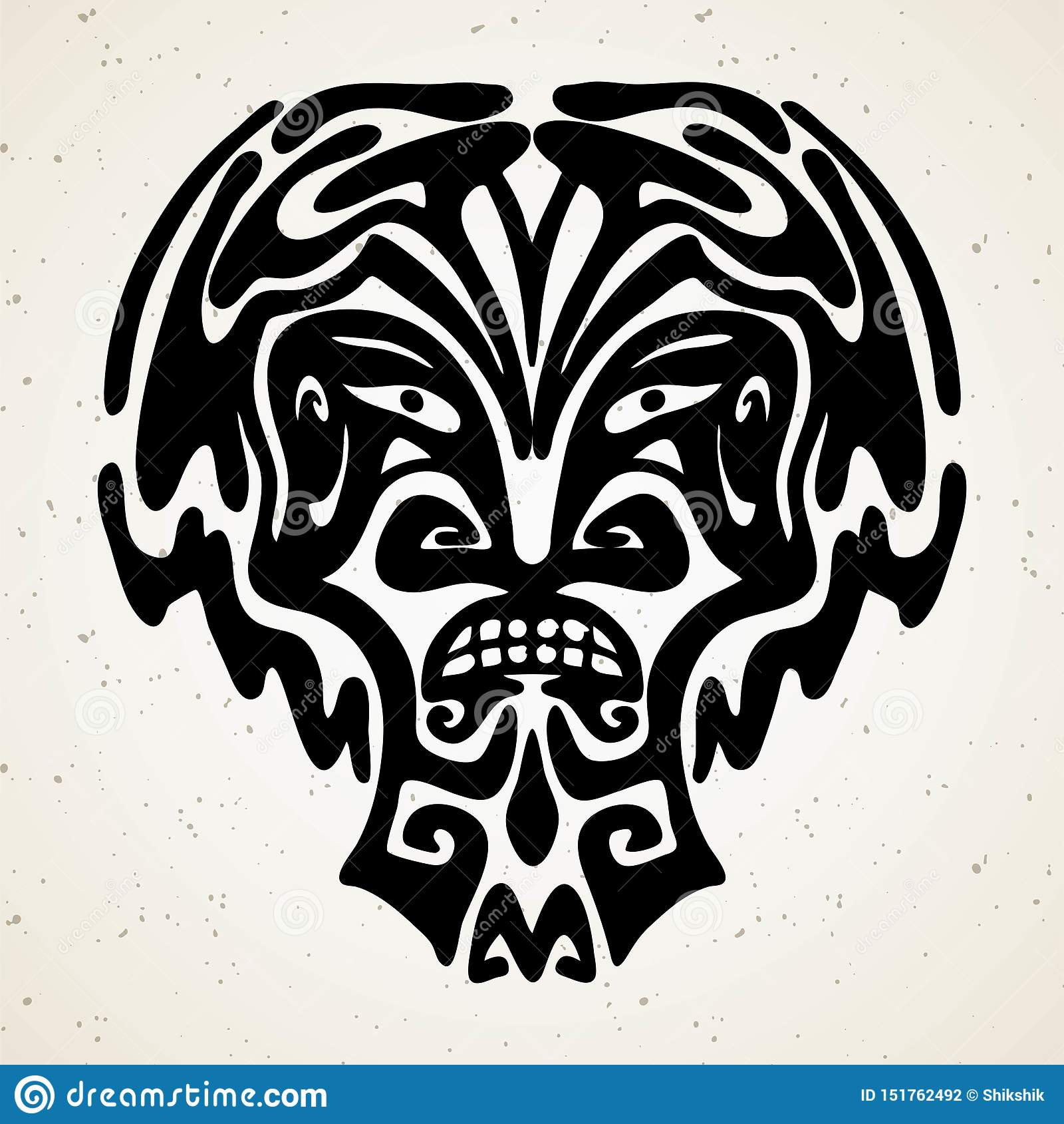 Tribal Tattoo With The God Mask. Authentic Artwork With A Symbol Of ...