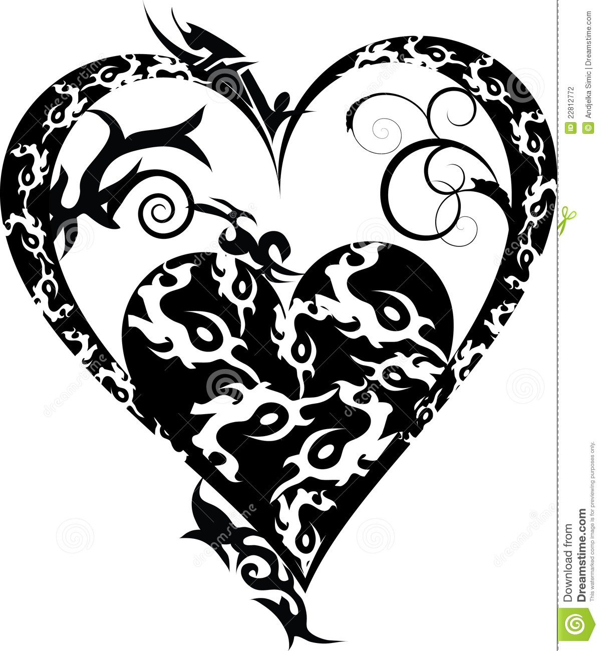 Tribal tattoo heart black isolated on white