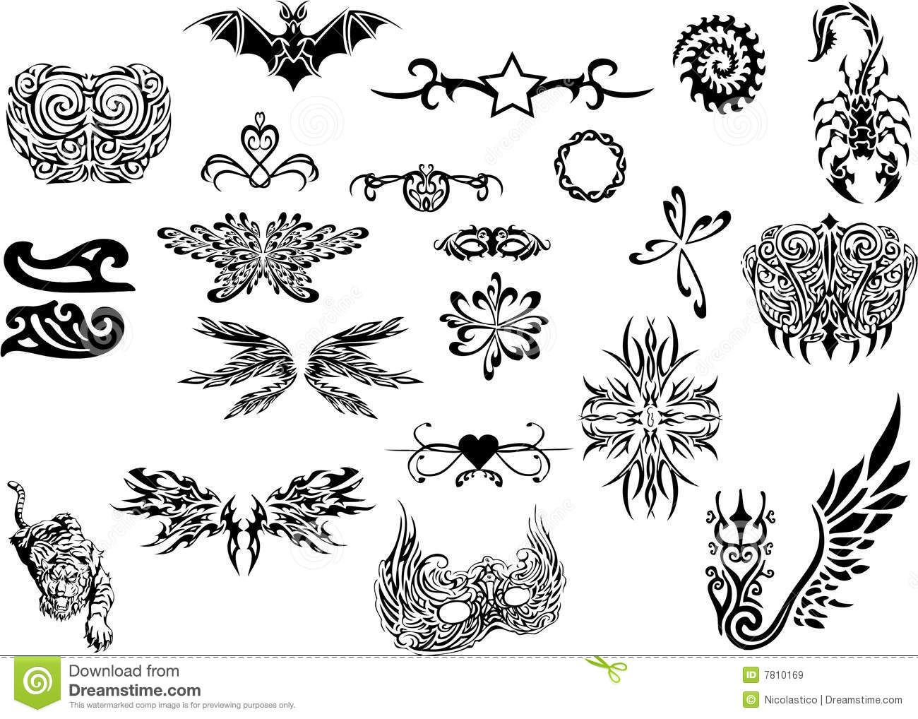 Tribal tattoo set royalty free stock images image 7810169