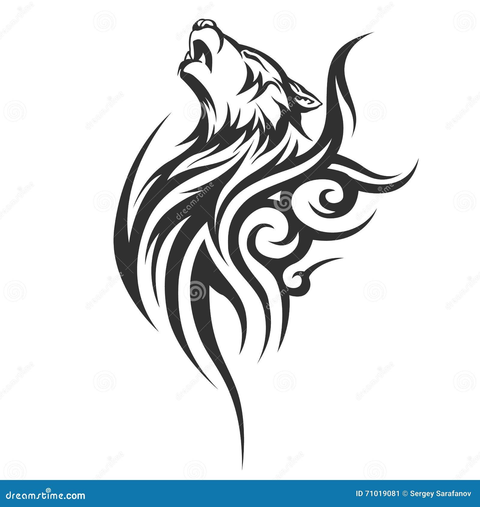 tribal tattoo wolf designs cartoon vector 71019149. Black Bedroom Furniture Sets. Home Design Ideas