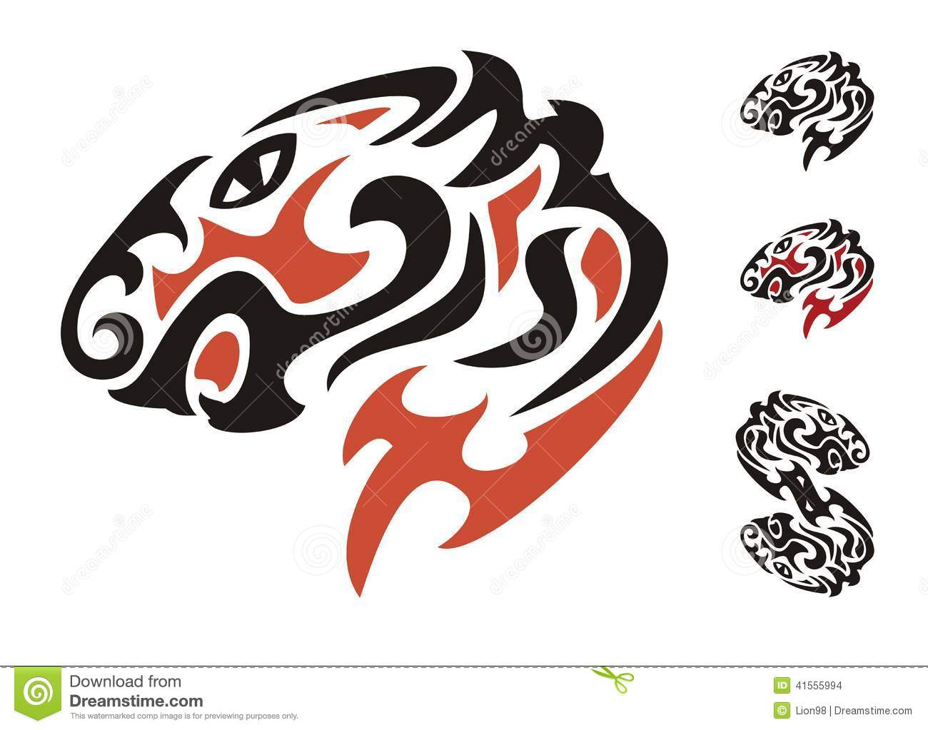 Tribal Tiger Head. Black And Red On The White Stock Vector ...