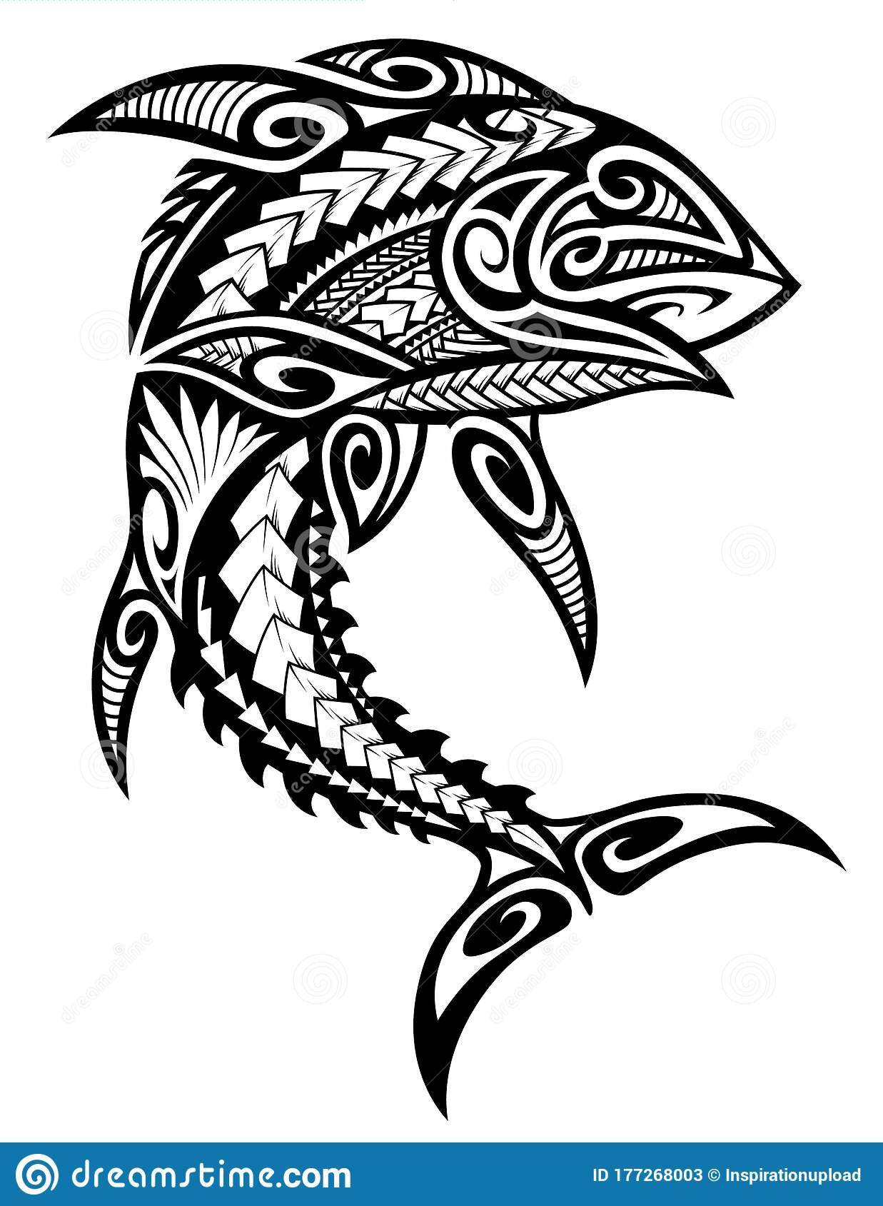 tribal tuna fish polynesian design stock vector illustration of tattoo hawaiian 177268003 dreamstime com