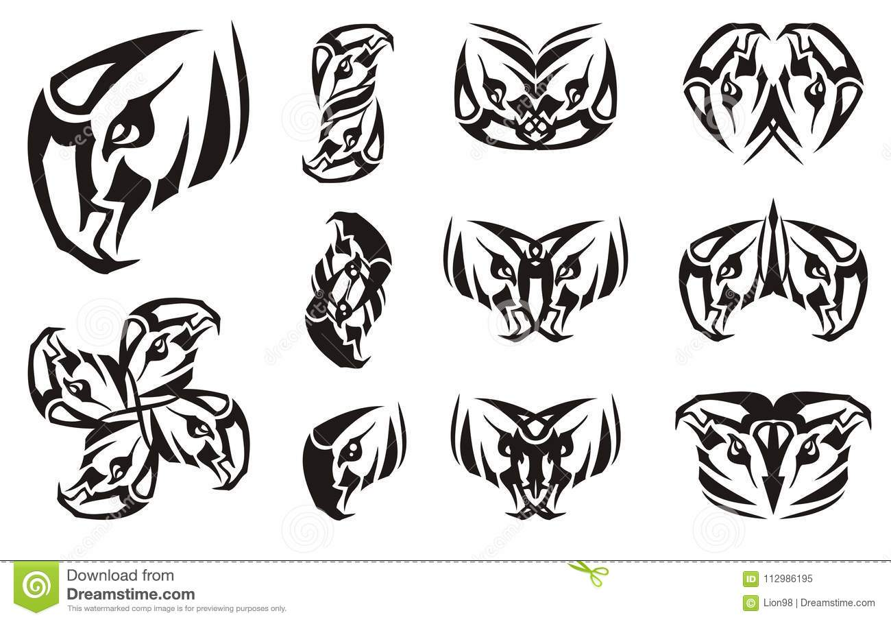 Eagle head symbol and double symbols from it