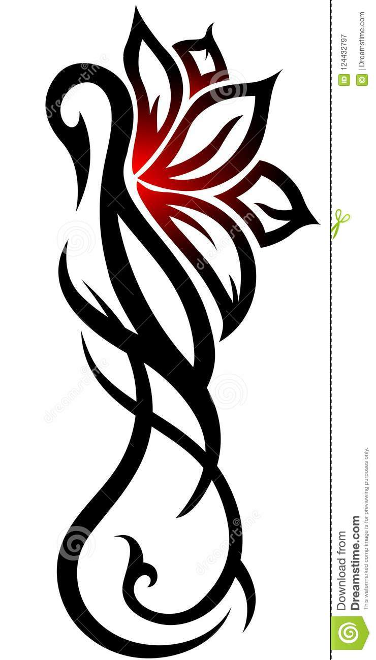Swan Flower Tribal Tattoo On White Background Stock Illustration
