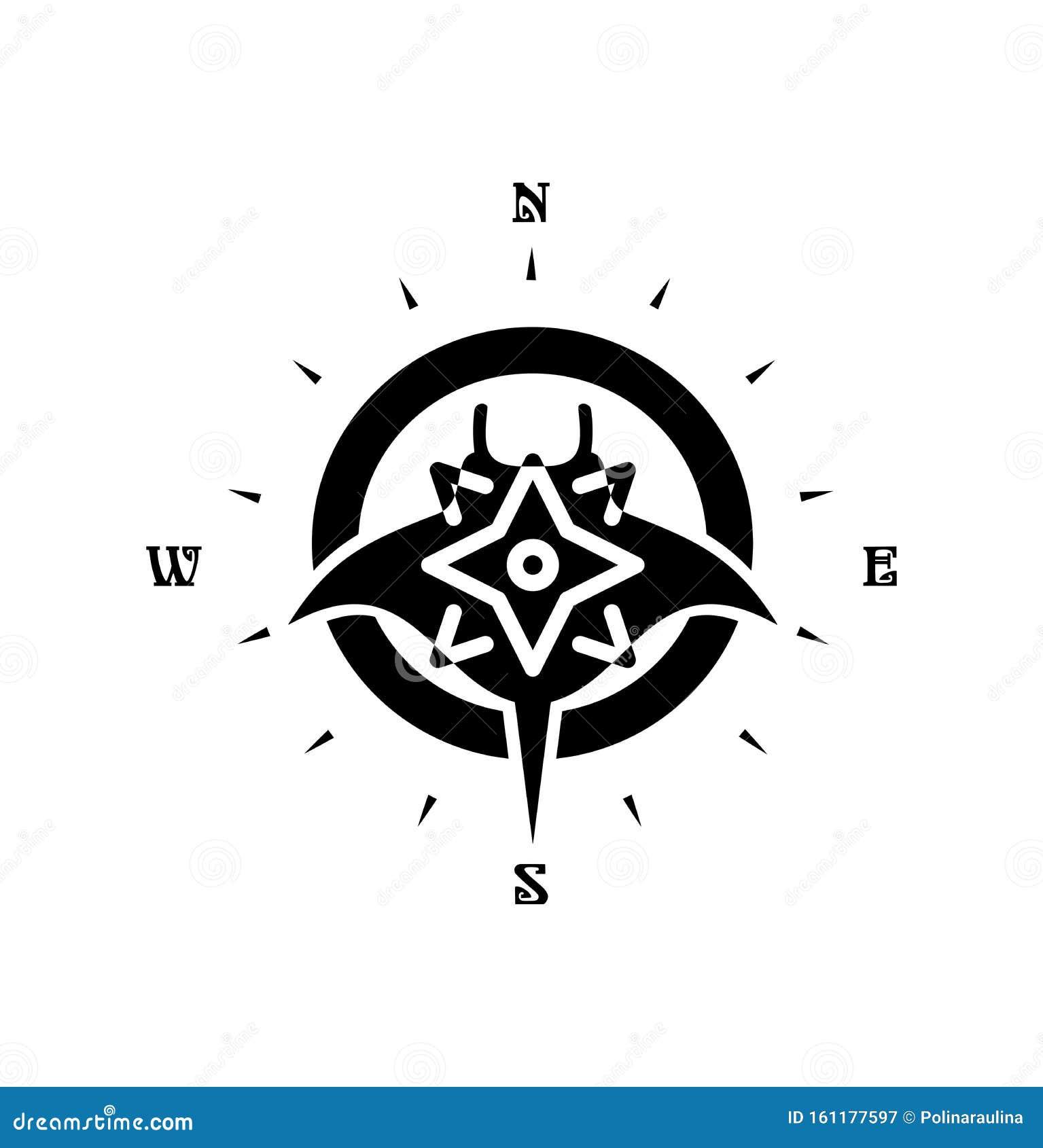 Manta Ray Fish Silhouette Tattoo Drawing Stock Image