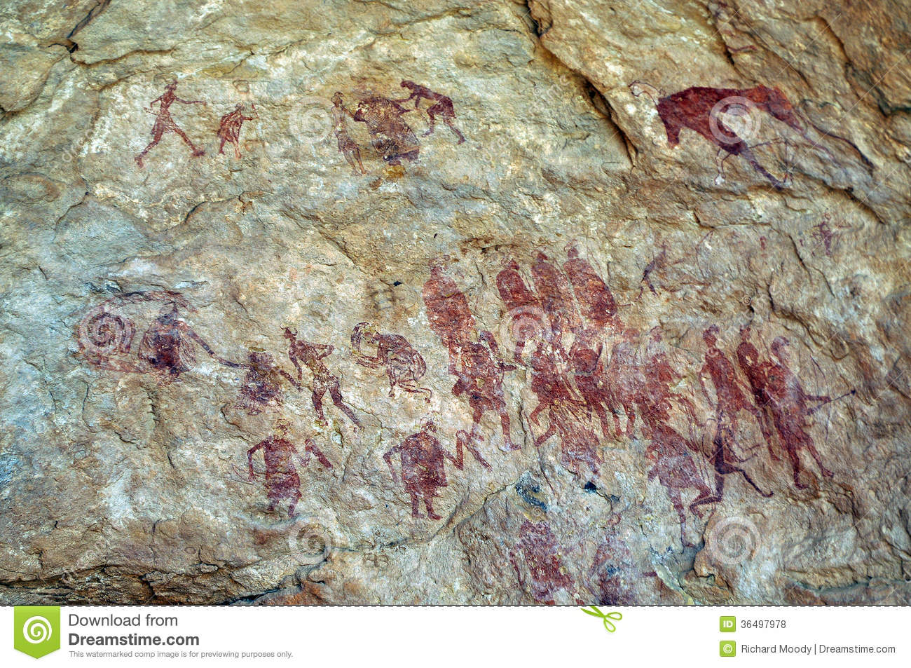 Tribal Warrior Cave Painting