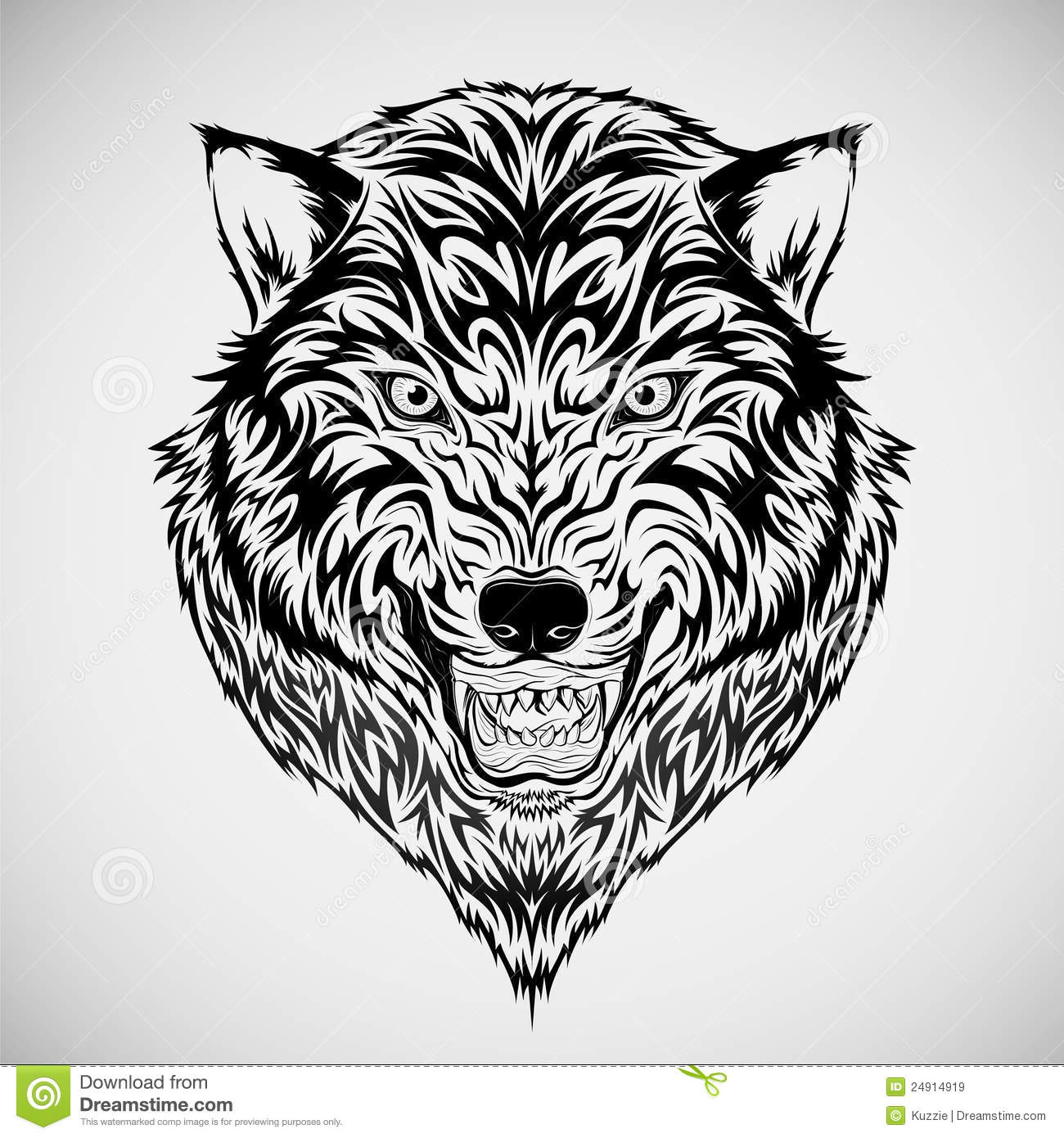 Tribal wolf head tattoo royalty free stock images image 24914919