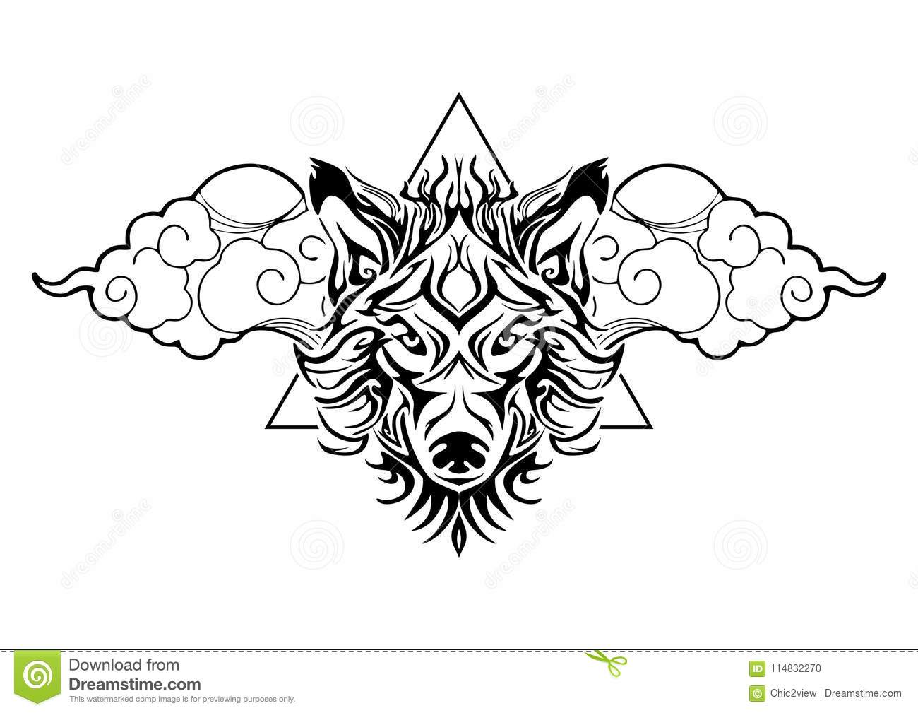 37ab2c475 Tribal wolf head tattoo decorate with oriental cloud and geometric triangle  design for tattoo
