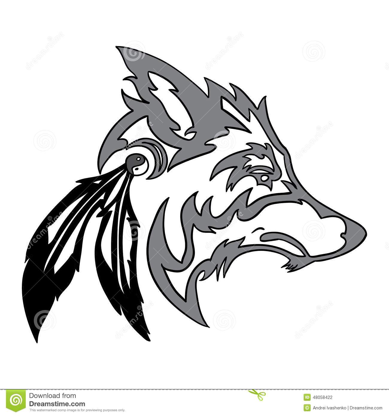 head of a wolf with tribal vector illustration 26637770. Black Bedroom Furniture Sets. Home Design Ideas