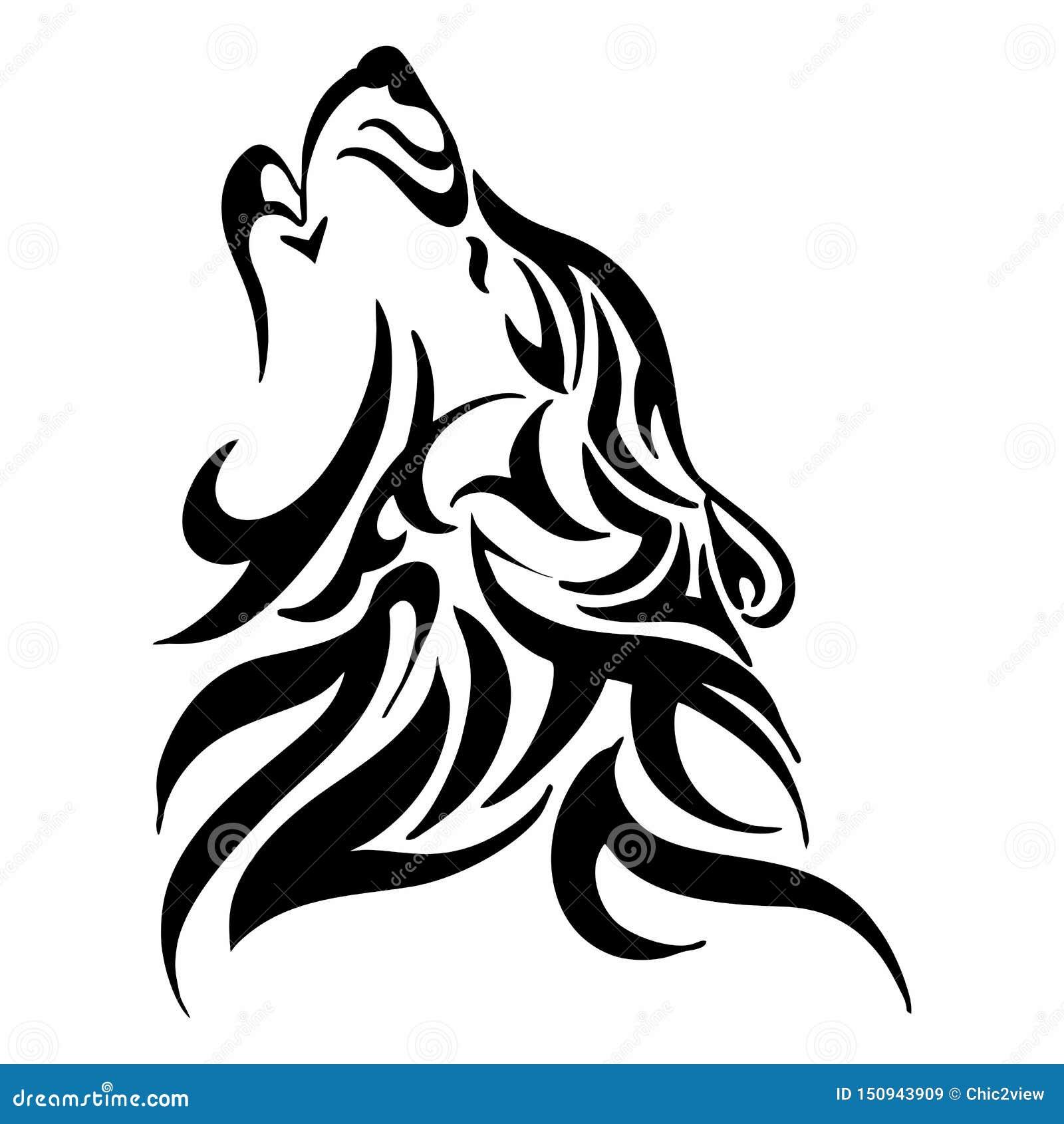 Tribal Wolf Howl Head Tattoo Stock Illustration