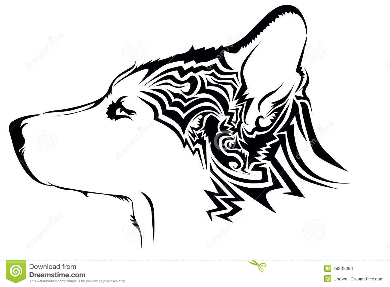 Tribal wolf tattoo stock vector. Illustration of shepard ...