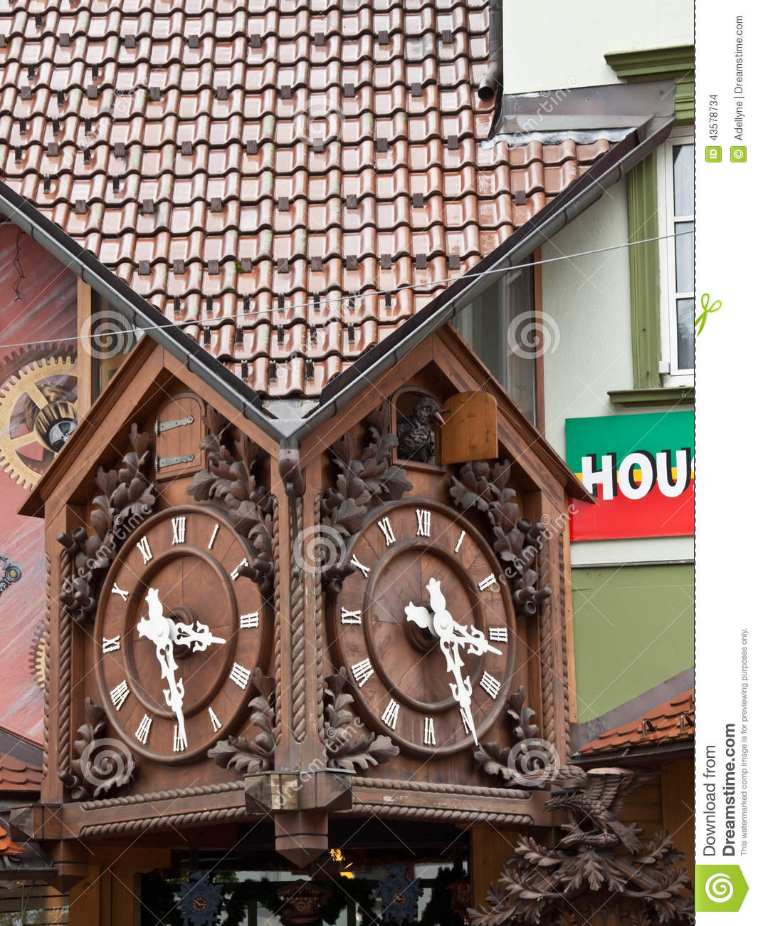 Download Triberg Cuckoo Clock stock photo. Image of europe, architecture - 43578734