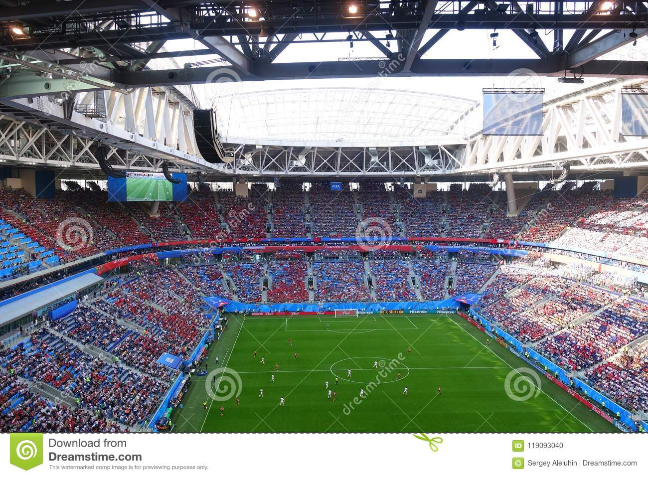Download Tribune Stadium In St. Petersburg During The World Cup Football Stock Photo - Image of number, index: 119093040