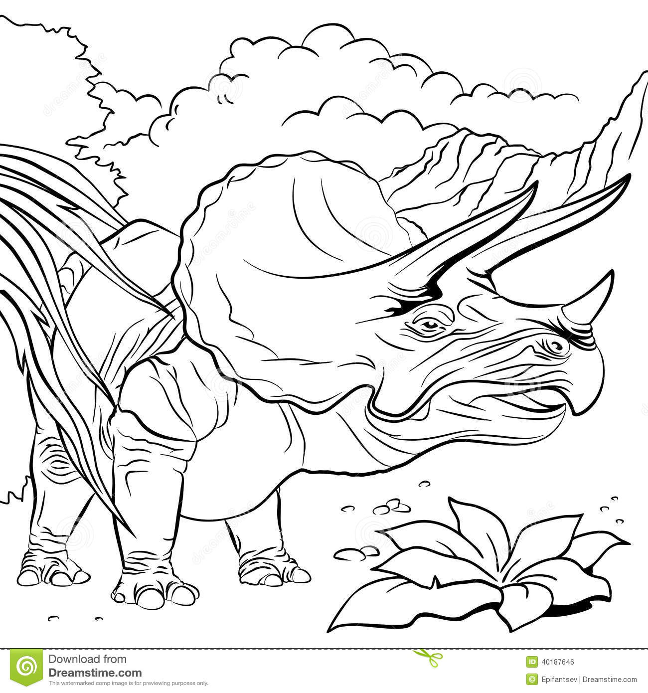 Triceratops dinosaur for coloring book illustration stock vector illustration of dinosaur - Dinausore dessin ...