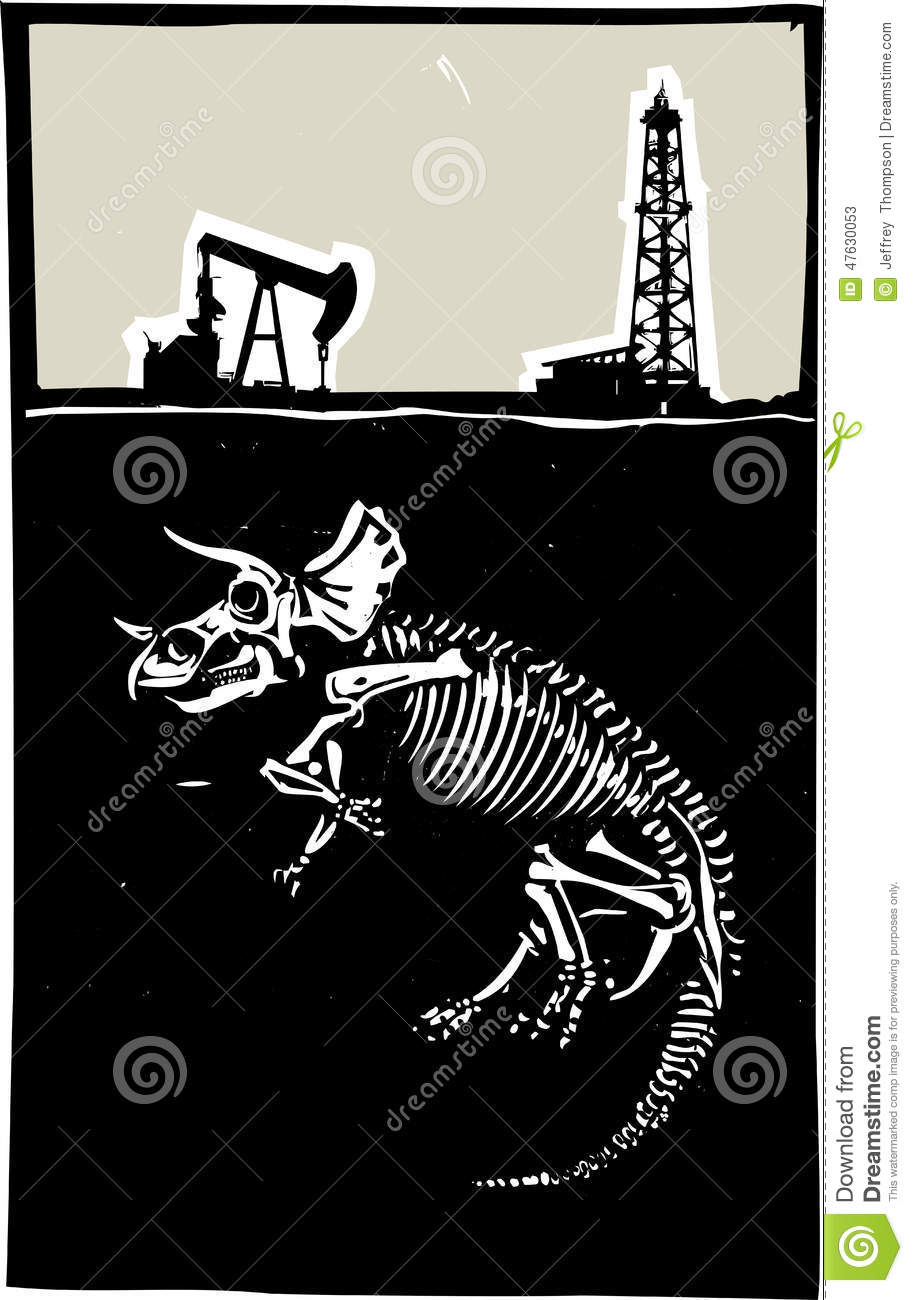 Triceratops Fossil Fuel Exploration Stock Vector Image